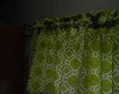 Lime green and white valance Mill Creek Fabric