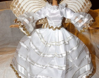 Amazing white & gold Angel with embroideried wings, halo for Fashion Dolls - ed718