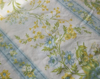Yellow and Blue Floral Stripe Vintage Twin Flat Sheet