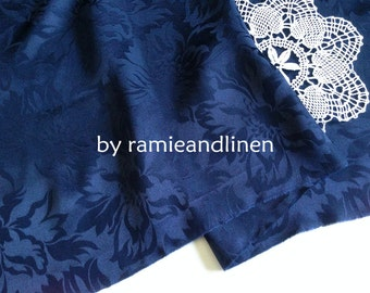 "silk fabric, 100% pure silk floral jacquard fabric, navy blue, dress fabric, half yard by 44"" wide"