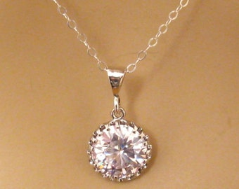Cubic Zirconia Necklace: CZ Solitaire Necklace, Sterling Silver, Cubic Zirconia Bridal Necklace, CZ Wedding Jewelry, Gift for Her 4-88