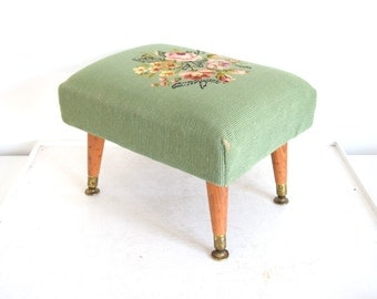 Vintage Ottoman - Needlepoint Top - Mid Century Modern Table Legs