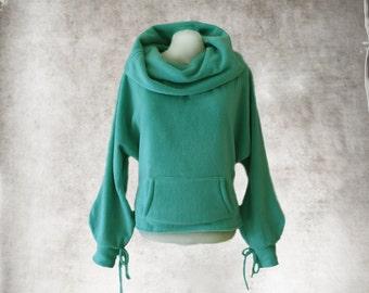 Cowl neck wide/Women green top/Fleece pull over/Wide neck drape/Big collar/Emerald active wear/Long sleeve sweatshirt