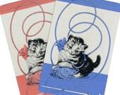 KNIT 1, PURL 2 (2) Vintage Single Swap Playing Cards Paper Ephemera Scrapbook