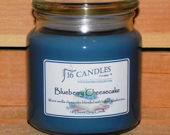 Blueberry Cheesecake Candle ~ 16 ounce Jar ~ Scented Soy Candle ~ Bakery Fragrance ~ 16 Candles by J.P. Lawrence