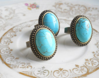 turquoise ring cabochon ring bronze boho ring turquoise ring bronze ring chalky turquoise ring gemstone ring cottage chic adjustable ring