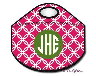 CIRCLES monogrammed lunch tote - with customizable pattern and monogram