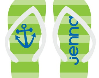 STRIPE personalized monogram flip flops for adults and kids by Rouge Jr for adults and kids