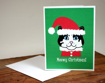 Christmas cat card, Santa kitty, Meowy Christmas, red, green, kitty elf, pussy cat xmas card, holiday greetings, cat lover, chat, gato