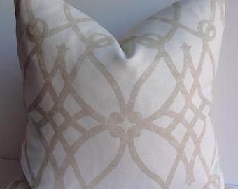 Trellis lattice Sandstone on Natural Linen Decorative Pillow Cover, Fretwork Designer Throw pillow, accent pillow geometric