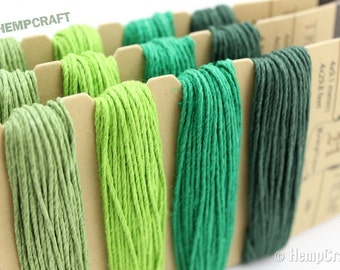 Hemp Twine, Emerald Color Card- High Quality 20lb 1mm Four Pack Craft Cord