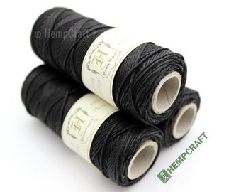 Hemp Twine, 1mm Black All Purpose Craft and Macrame Cord