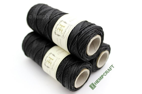 Hemp Twine, 1mm Black All Purpose Craft and Macrame Cord