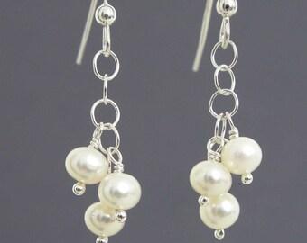 Freshwater Pearl Earrings, Pearl Dangle Earrings, Genuine Pearls, Simple White Freshwater Pearls and Sterling Silver, June Birthstone