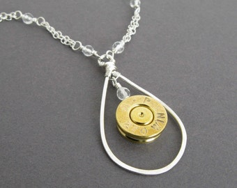 270 Win Necklace, Bullet Necklace in Sterling Silver, 270 Caliber Bullet Casing Necklace with Quartz, Handmade Custom Caliber Necklace