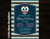 Owl Baby Shower Invitation with striped background, digital invite, printable file, diy