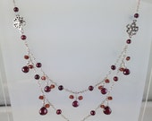 2 layer garnet necklace in sterling silver burgundy freshwater pearls, sterling flowers