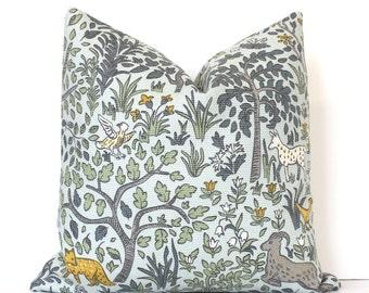 Flora and Fauna Decorative Designer Pillow Cover Accent gold green grey orange bird fox goat deer rabbit Aqua blue animals floral nature