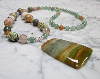 Spring Summer Natural Stone and Crystal Full Spectrum Chakra Balancing Necklace with Ocean Wave Jasper Pendant