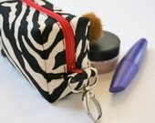 Mini Box Zipper Pouch with Swivel Clip, Black,  and White Zebra with Red