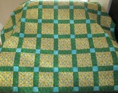 Yellow Squares Blue Flowers Green Sashing Lap Quilt