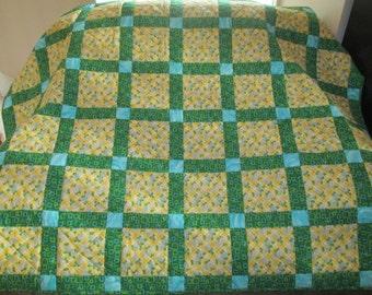 Yellow Squares Blue Flowers Green Sashing Lap Quilt