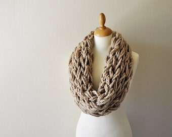 Tan Arm Knitted Cowl - Chunky Knit Cowl - Knit Cowl - Textured Cowl - Gift For Her - Neutral Wool Cowl