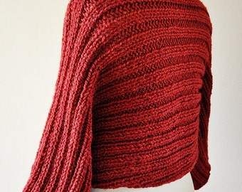 Red Oversized Shrug, Knitted Shrug,  Winter Shrug, Women's Knitwear