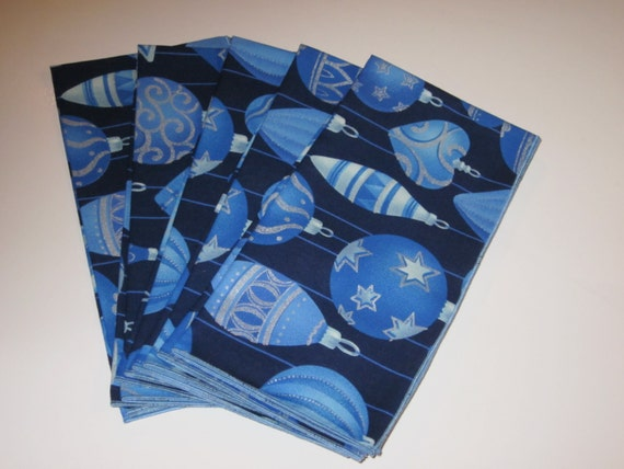 "Christmas Blue Ornaments On Navy Background - Large 20"" Square Cloth Napkins  - Set of 6"