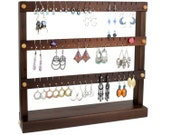Earring Holder - Jewelry Organizer Stand, Compact Jewelry Display, Peruvian Walnut, Wood.  Holds 54 Pairs of Earrings. Jewelry Holder