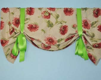 Tie up Valance in Sundance Antique Red Fabric  fabric