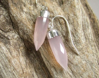 Rose Quartz Earrings Quartz Points 14K Gold Fill or Sterling Silver