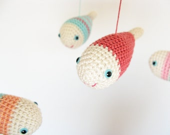 Nursery Mobile, Baby Crib Mobile, Baby Girls Mobile, Fish Baby Mobile, Nautical Nursery Decor, Crochet Baby Mobile