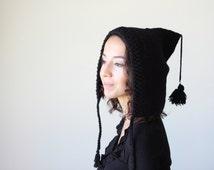 Crochet Pixie Hat, black Gnome hat, black pixie hat, Crochet Gnome hat, Crochet hobbit hat, Black hobbit hat, Black hood hat, Crochet hood