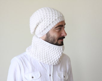 Men Hat Cowl Set, Matching Cowl hat set, White Cowl hat set, Matching Cowl hat, Mens circle scarf, Men knit hat, Men matching set, White set