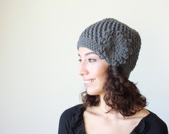 Women Crochet beanie flower, Hat for women, Charcoal grey beret, lightweight hat, Floral chunky hat for women, Cozy beanie