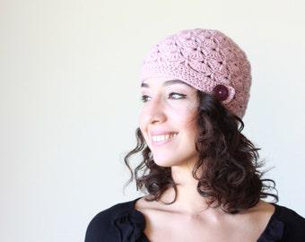 Dusty pink Women crochet beanie hat, Winter hat Women, shell hat, Women shell beanie, Winter crochet hat womens, crochet hat