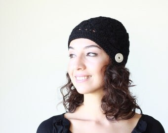 Women crochet beanie hat, Winter hat for Women, Black hat, Women shell beanie, Winter crochet hat womens, crochet hat