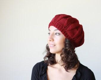 Hand Knitted Hat Women, Burgundy Slouch hat beret, Winter hat for women, Fashion knit hat, Handmade beret, Trendy knit hats women