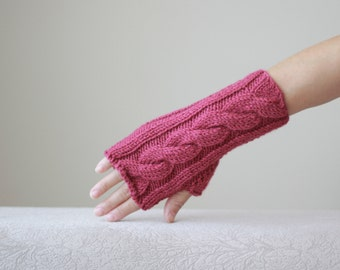 Cherry Red knit gloves, Red fingerless glove, Knit fingerless glove, Fingerless hand warmer women, Red gloves, Red mittens