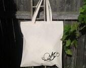 Personalize Initial - Monogram -Bridesmaid Gift Bags - Wedding Tote Bags - Wedding Party Girft Bag