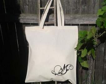 Personalize Initial - Monogram -Bridesmaid Gift Bags - Wedding Tote Bags - Wedding Party Girft Bag