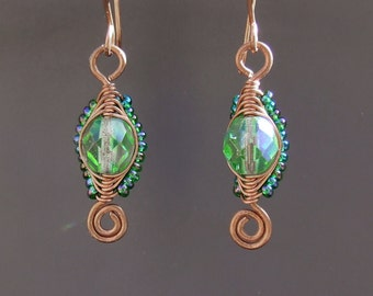 Copper green earrings, green glass beaded handmade wire wrapped copper jewelry