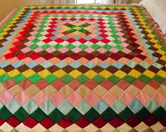Retro Poly Quilt Top with Colors That Pop . 80 by 84 Inches