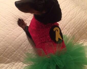 Dog / Dachshund Superhero Girl Robin Costume / Tutu Dress. Comes in Toy, Small & Medium Sizes