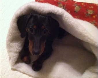 Small Dog / Dachshund Red With Brown Dogs Print Snuggle Sack / Sleeping Bag FREE SHIPPING within the US