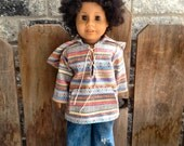 "waldorf  or American Girl BAJA Mexican hoodie with pocket. Fits larger doll 15-18"" boy girl doll"