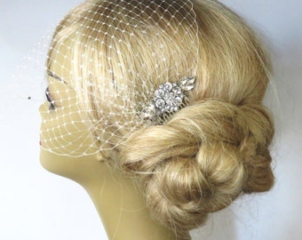 Birdcage Veil and a Hair Comb (2 Items)  Bridal Headpiece Rhinestone Bridal Comb Weddings Blusher Bird Cage Veil