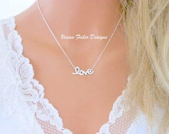 LOVE Necklace Cursive Cubic Zirconia Diamonds Celebrity Jewelry Teresa Guidice