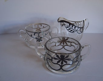 Art Nouveau Silver Deposit Cream Pitcher and 2 Open Sugars